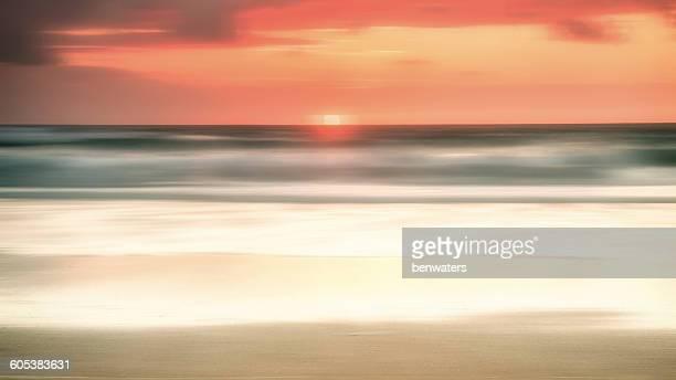 Sunset over sea, Treyarnon Bay, Cornwall, England, UK
