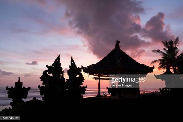Sunset over Seminyak beach in Bali.