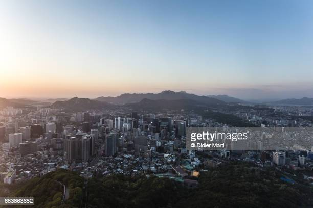 Sunset over Seoul business district at night in South Korea