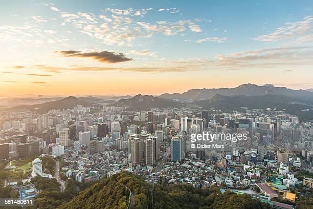 Sunset over Seoul skyline