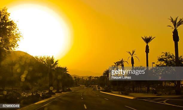 Sunset over small desert town