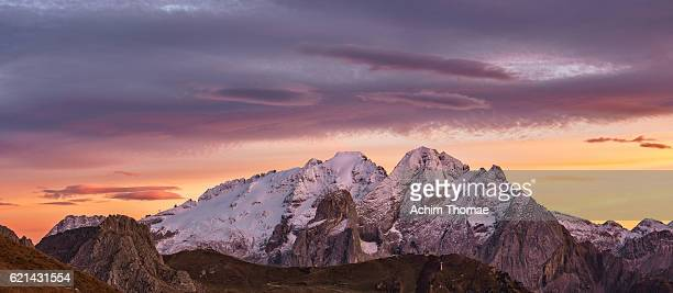 Sunset over snowcapped Marmolada Mountain - Dolomite Alps, Italy