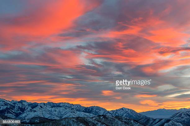 Sunset over snowcapped Wasatch Mountains, Utah