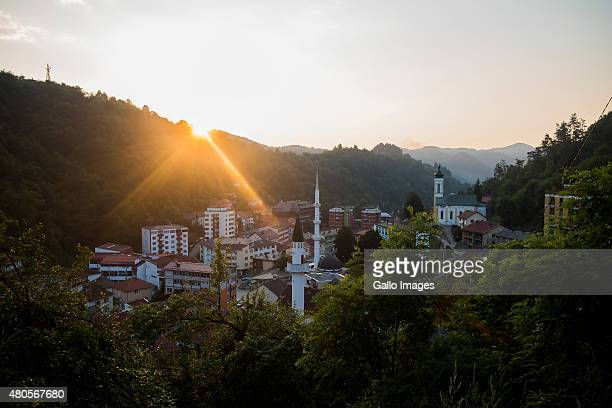 Sunset over Srebencia on July 8 2015 at Potocari Bosnia During the 19921995 Bosnian War the town of Srebrenica was declared a UN safe zone to which...