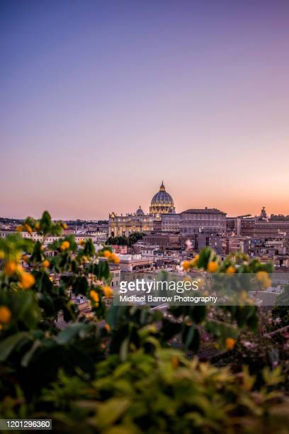 sunset over st peter's, rome - rome italy stock pictures, royalty-free photos & images