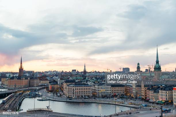 sunset over stockholm - stockholm stock pictures, royalty-free photos & images