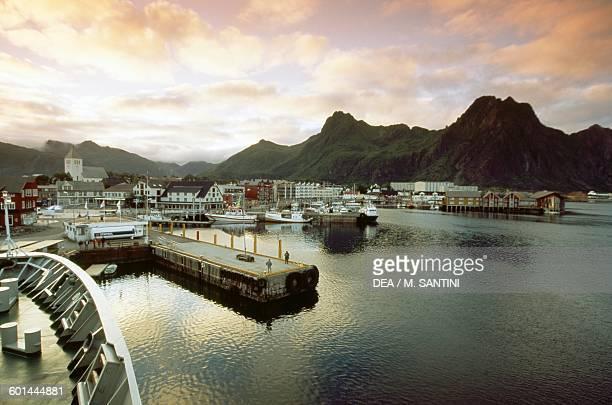 Sunset over Svolvaer port Austvagoy island Lofoten islands Nordland county Norway