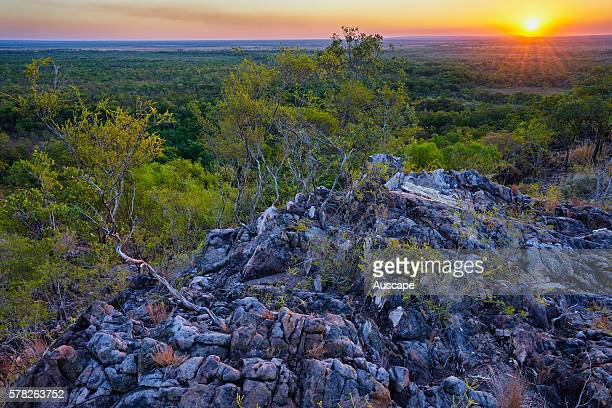 Sunset over Tabletop Range a sandstone plateau Litchfield National Park Northern Territory Australia