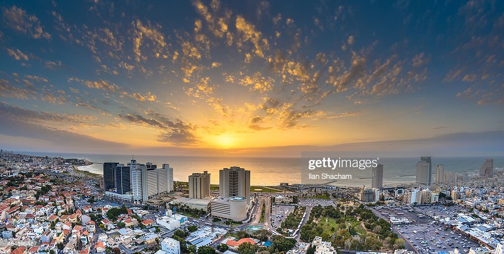 Sunset over Tel-Aviv Beach : Stock Photo