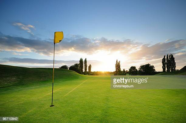 sunset over the 18th - green golf course stock pictures, royalty-free photos & images