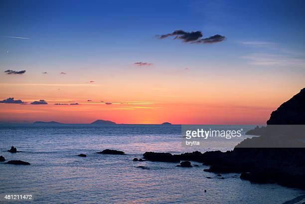 Sunset over the Aeolian Islands near Sicily,Italy