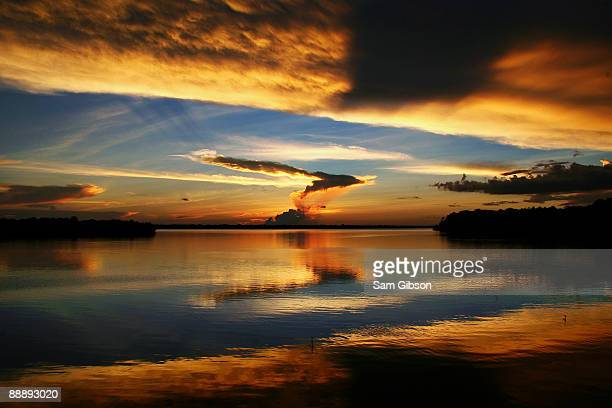 a sunset over the amazon river - リオネグロ州 ストックフォトと画像