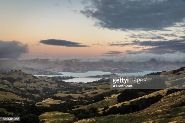 Sunset over the Banks peninsula in New Zealand south island