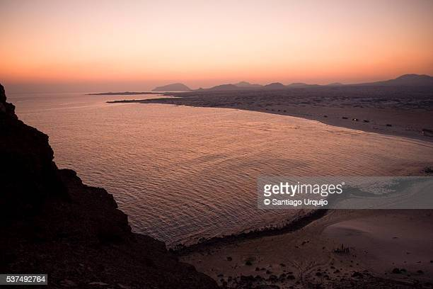 Sunset over the bay at Bir Ali