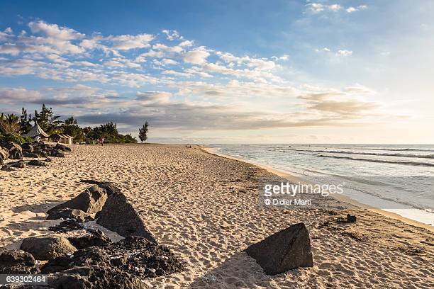Sunset over the beach in Saint Gilles les Bains in the Reunion island