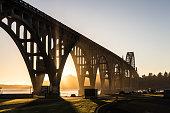 Sunset over the bridge in Newport, in Oregon, USA