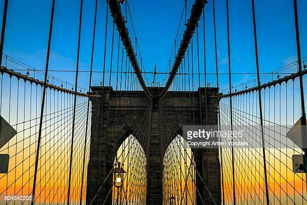 Sunset over the Brooklyn Bridge