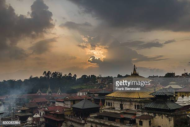 Sunset over the buildings of Pashupatinath temple at the banks of Bagmati River