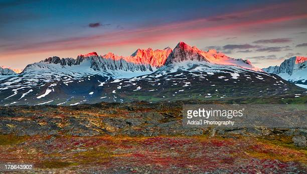 sunset over the chugach mountains alaska - chugach mountains stock pictures, royalty-free photos & images