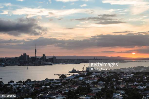 Sunset over the city of Auckland in New Zealand