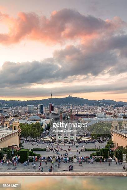 Sunset over the city of Barcelona, Spain