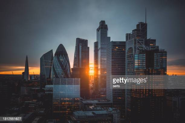 sunset over the city of london, united kingdom - greater london stock pictures, royalty-free photos & images