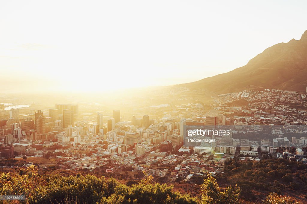 Sunset over the city : Stock Photo