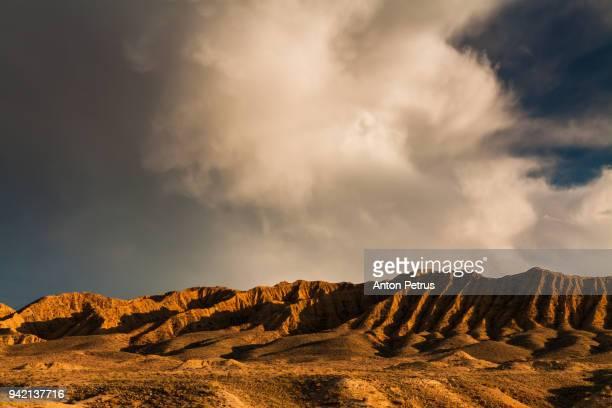 Sunset over the desert landscape