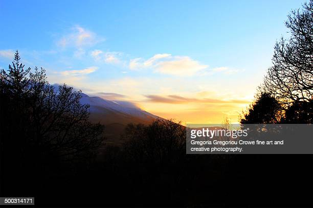 sunset over the galtee mountains - gregoria gregoriou crowe fine art and creative photography. stock photos and pictures