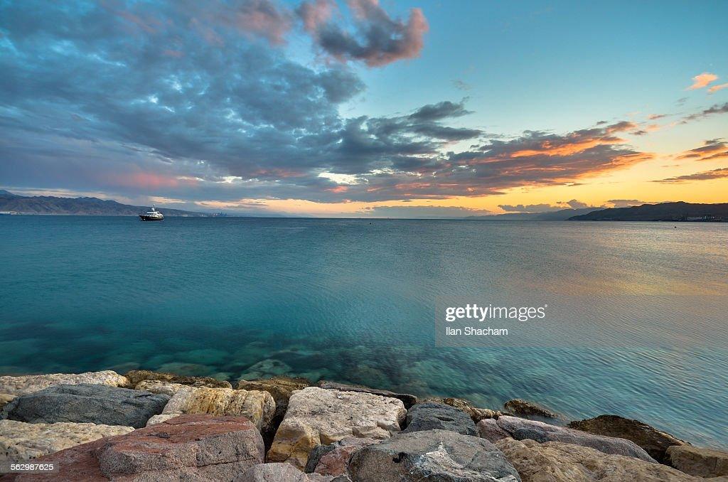 Sunset over the Guld of Eilat : Stock Photo