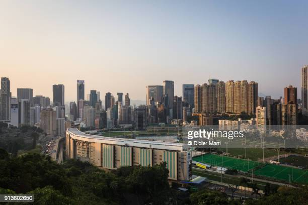 Sunset over the Happy Valley Racecourse near Wanchai in Hong Kong