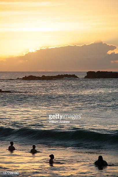 Sunset over the Hawaiian surf