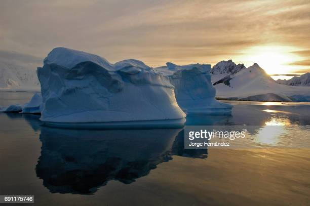Sunset over the ice floating in the channels of the Antarctic peninsula
