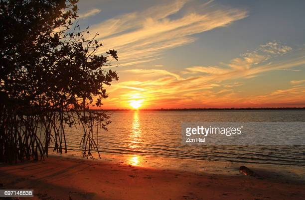 sunset over the intracoastal waters in stuart, florida - stuart florida stock pictures, royalty-free photos & images