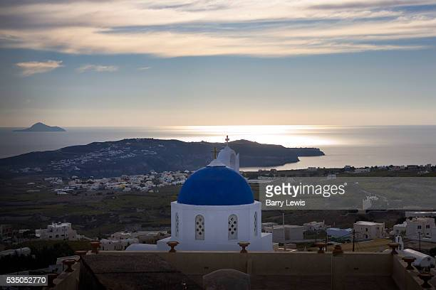 Sunset over the island from the church at Megalochori Santorini