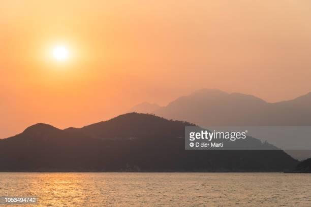 Sunset over the Lantau island in Hong Kong