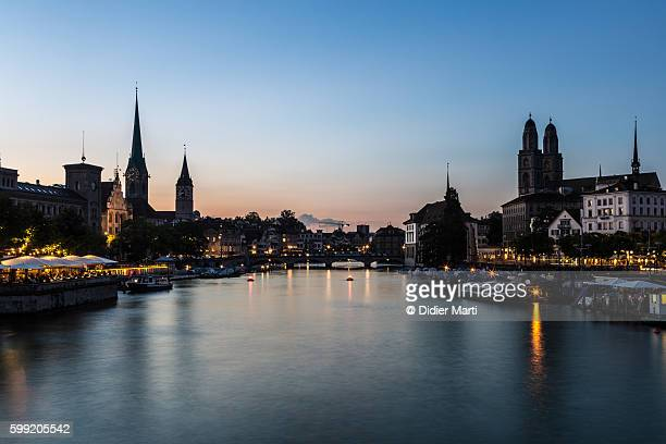 Sunset over the Limmat river in Zurich
