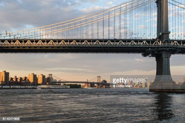 Sunset over the Manhattan bridge in New York City