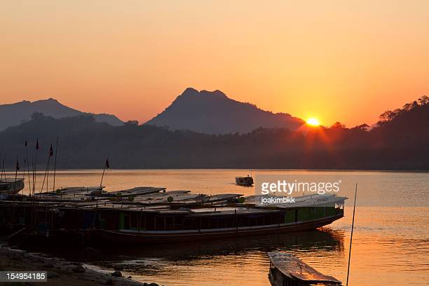 Sunset over the Mekong river in Luang Prabang in Laos