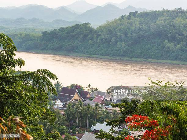 Sunset over the Mekong river in Luang Prabang
