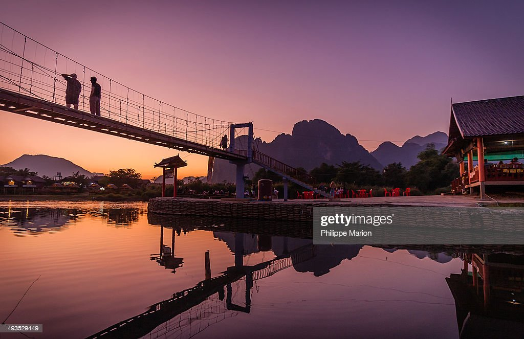 Sunset over the Nam Song River in Vang Vieng, Laos : Stock Photo