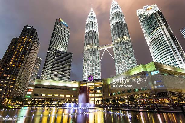 Sunset over the Petronas twin towers in Kuala Lumpur, Malaysia capital city