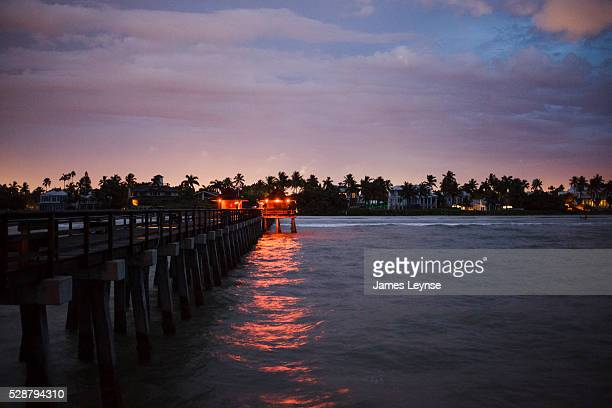Sunset over the pier at Naples Florida