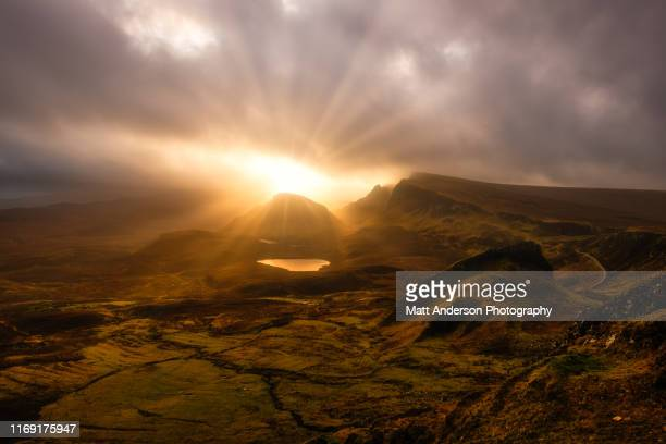 sunset over the quiraing - easter religious stock pictures, royalty-free photos & images