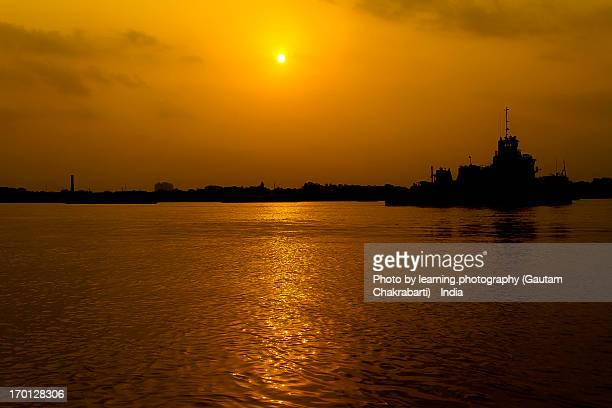 Sunset over the river Ganges - Calcutta, India