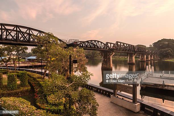 sunset over the river kwai brigde - bridge over the river kwai stock pictures, royalty-free photos & images