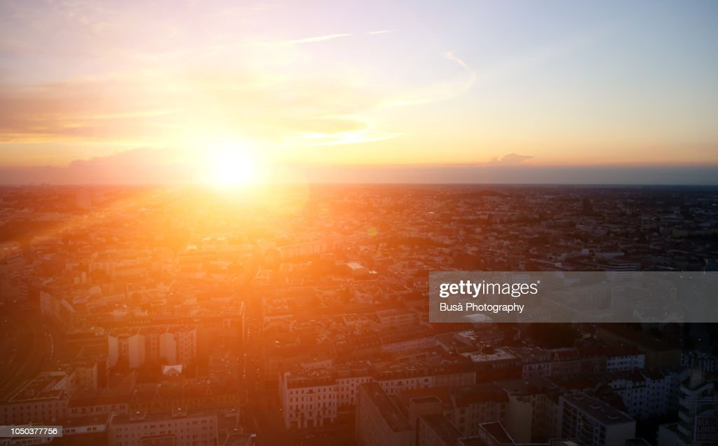Sunset over the rooftops of Berlin, Germany : Stock-Foto
