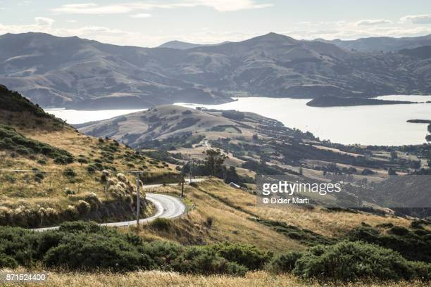 Sunset over the scenic summit road in the Banks peninsula in New Zealand