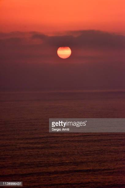 Sunset over the sea in Lima