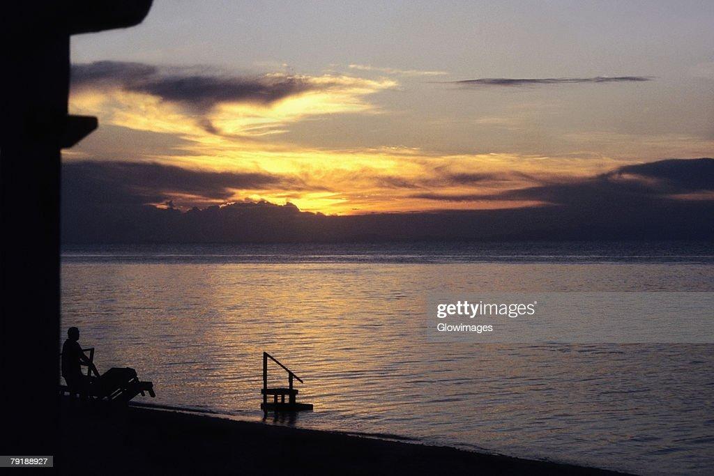 Sunset over the sea, Sipadan, Borneo, Malaysia : Foto de stock